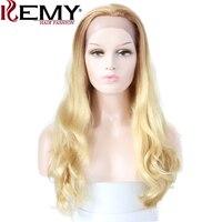 Кеми волосы мода 24 Ombre блондин Цвет Синтетические волосы на кружеве Человеческие волосы Искусственные парики естественная волна 100% бразил