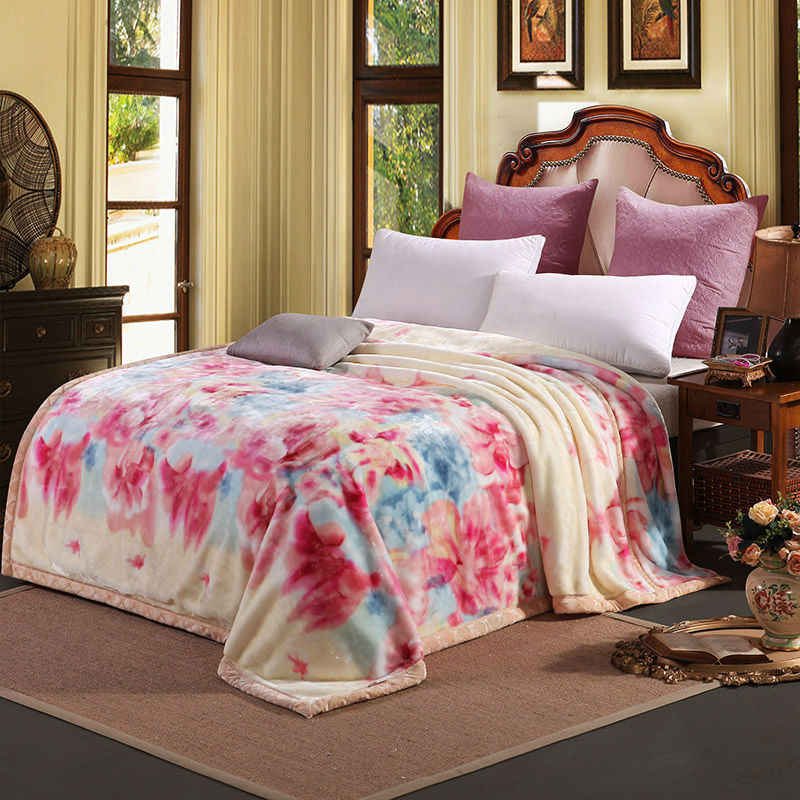 Double Layer Warm Fluffy Mink Blanket Super Soft Floral Print Winter Thick Quilt Single Bed Double Bed Chunky Raschel Blankets
