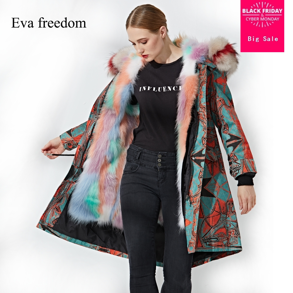 Winter Harajuku style real raccoon fur   coat   female thicker fur inside natural fur hooded warm   down     coats   wq551 dropship