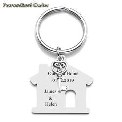 Porte-clés de texte gravé personnalisé avec maître, en acier inoxydable, cadeau de pendaison de crémaillère de première maison