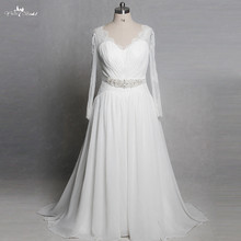 RSW1321 Yiaibridal Neckline Long Sleeves Wedding Dress