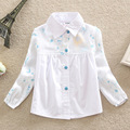 2016 New Girls Blouse Children Clothing Cotton Child Shirt School Girl White Blouse Single-breasted Kids Clothes Age 2-6T