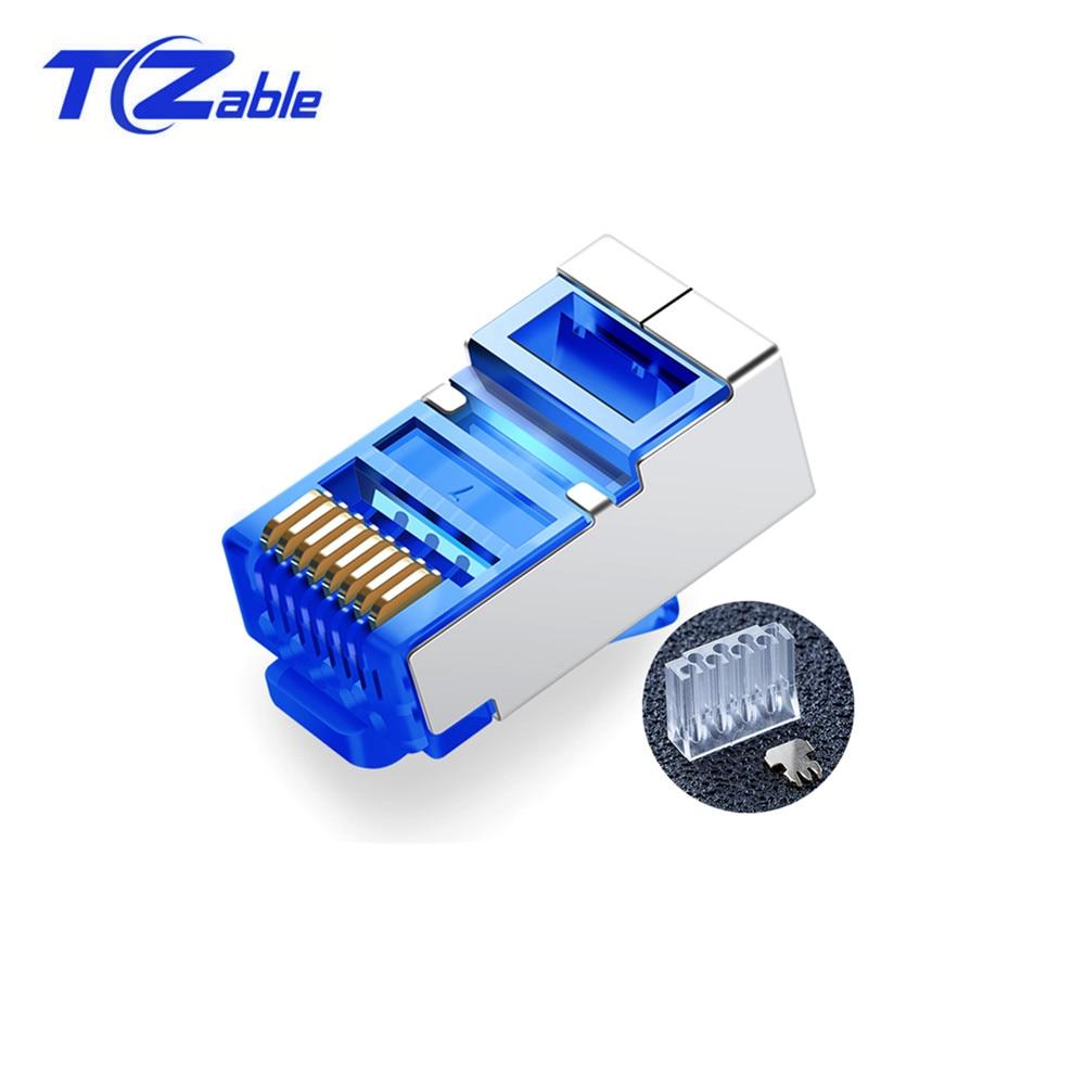 5PCS RJ45 Network Connector 8P8C Cat6 Ethernet Cable Shield Plug Adapter For Gigabit Ethernet Head Plug Gold-plated
