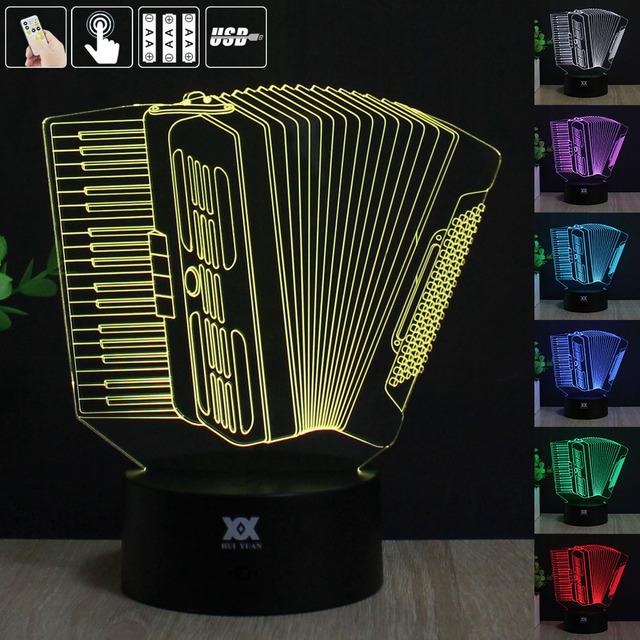 HUI YUAN Acordeão 3D Humor Lâmpada Night Light RGB Mutável LED decorativo candeeiro de mesa de luz dc 5 v usb obter um free remoto controle