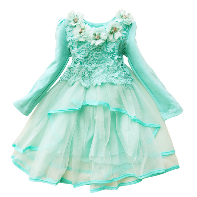 190434940b92 Toddler little baby girls casual dress sweet lace flower long sleeve ...