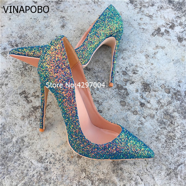 Vinapobo 2017 Sexy Sequin Women High Heels Spring Elegant Pointed Toe Lady Pumps Stiletto Wedding Party