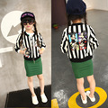 2016 New Stripe Mickey Meninas Outerwear Jaqueta Casaco Mickey Roupas Casaco Fashion Stripe Jaquetas para Meninos Casacos Meninas