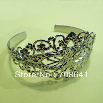 New Silver Plated Filigree Flower Blank Bangle Bases Bracelet cuff Bangle Settings Crafts Jewelry Making Findigns Wholesale