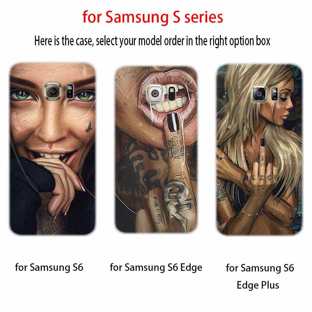 Seksi kollu dövme kız yumuşak TPU silikon telefon Case arka kapak Samsung Galaxy S6 S7dge S8 S9 S10 S11 s20 artı not 8 9 10