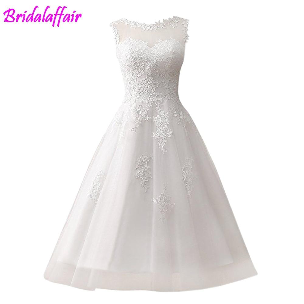 2019 Beach Tea Length Wedding Dress vestido de noiva curto Simple Elegant Lace Short Wedding Dresses
