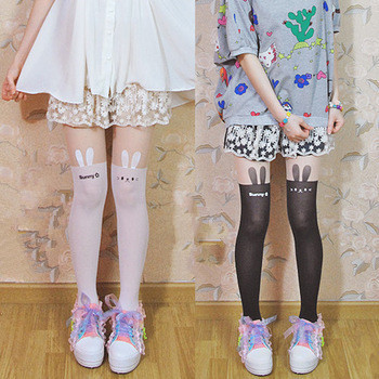 Top quality catoon tights!Post 90s Non-mainstream girls all-match rabbit tights pantyhose for women/female/lady Japanese tights tights