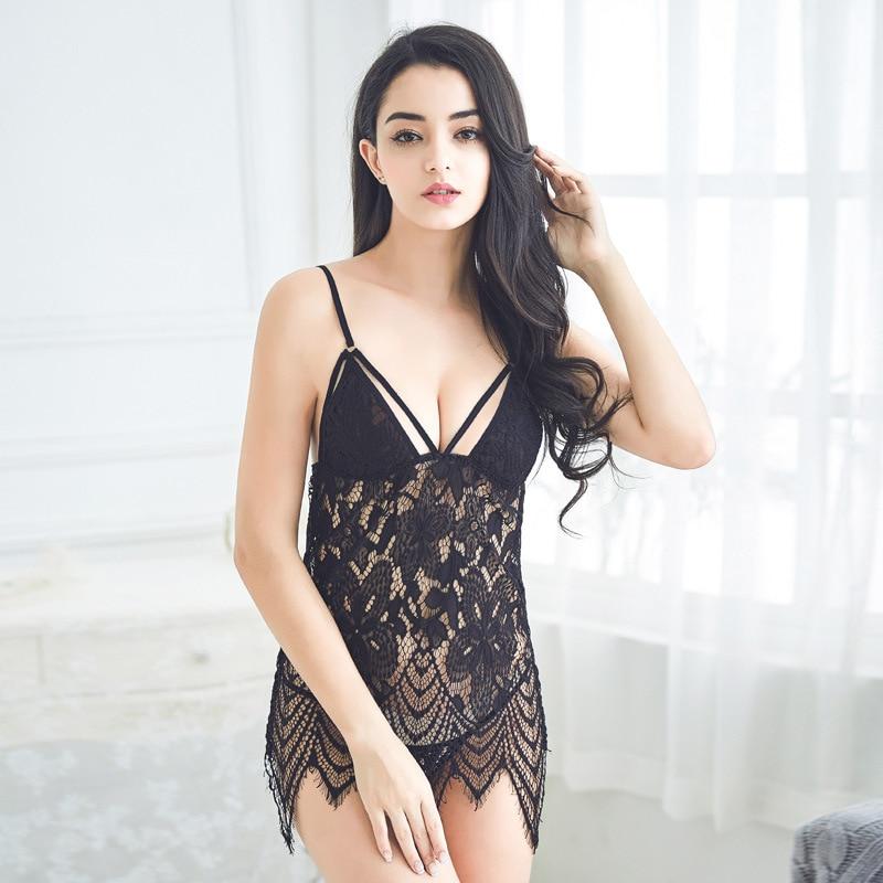 Women Sexy   Sleepshirts   Extreme Temptation V Collar Nightdress Female Sling   Nightgowns   Two Piece Set Sleepwear Lace Underwear