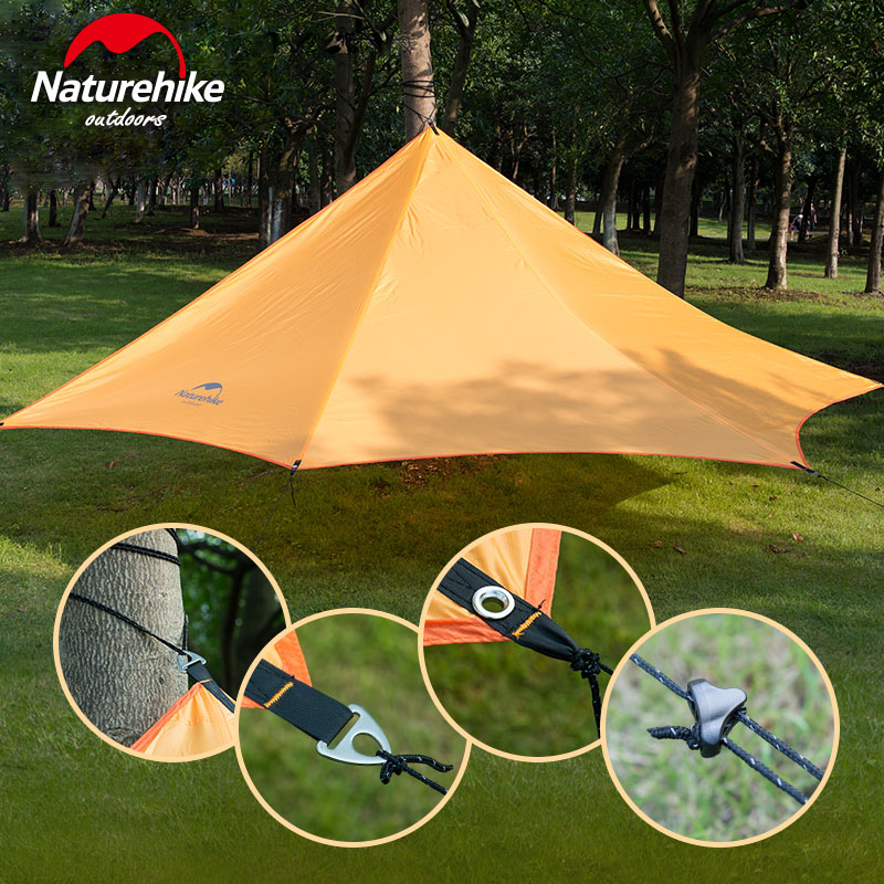 Naturehike Outdoor Camping Large Family awning Tents 3-4 Persons Waterproof Ultralight Beach Sun Shelter tarp 2 Colors 570/660g portable large beach camping tent waterproof canopy sun shelter outdoor awning party roof top tarp hiking family barraca gazebo