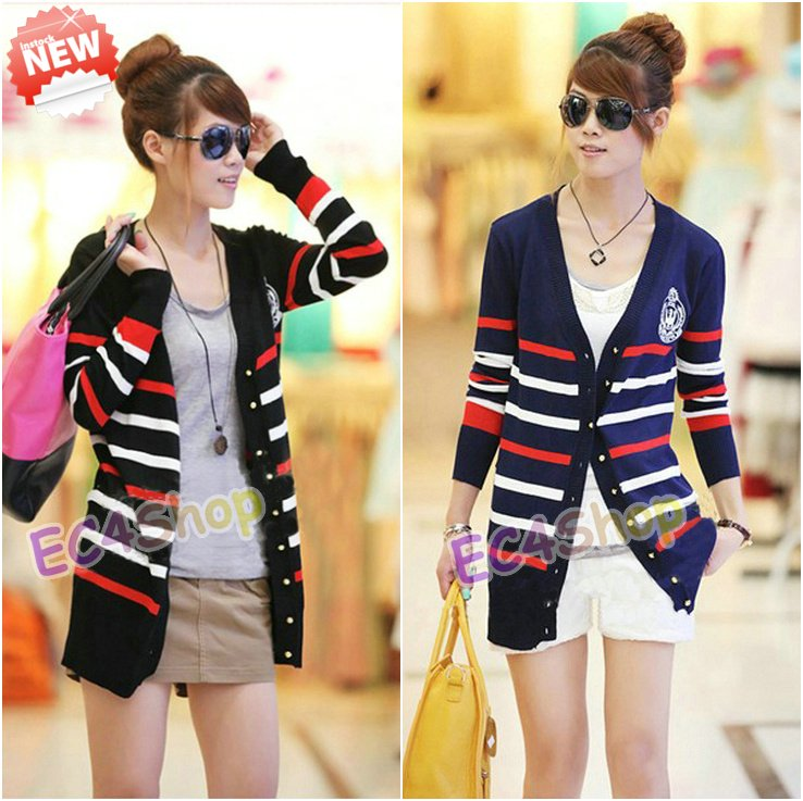 NEW Women Embroidery Navy Sailor Stripe Striped Cardigan Sweater ...