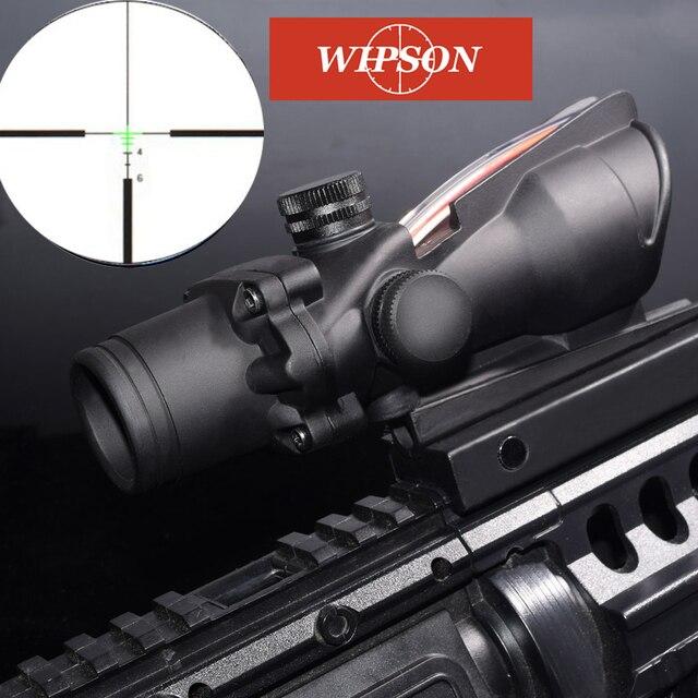 WISPON Chevron aim optical sight Enhanced Edition .308 4X32 ACOG Fiber Source Red&Green Illuminated Scope AR 15 Rifle Scope