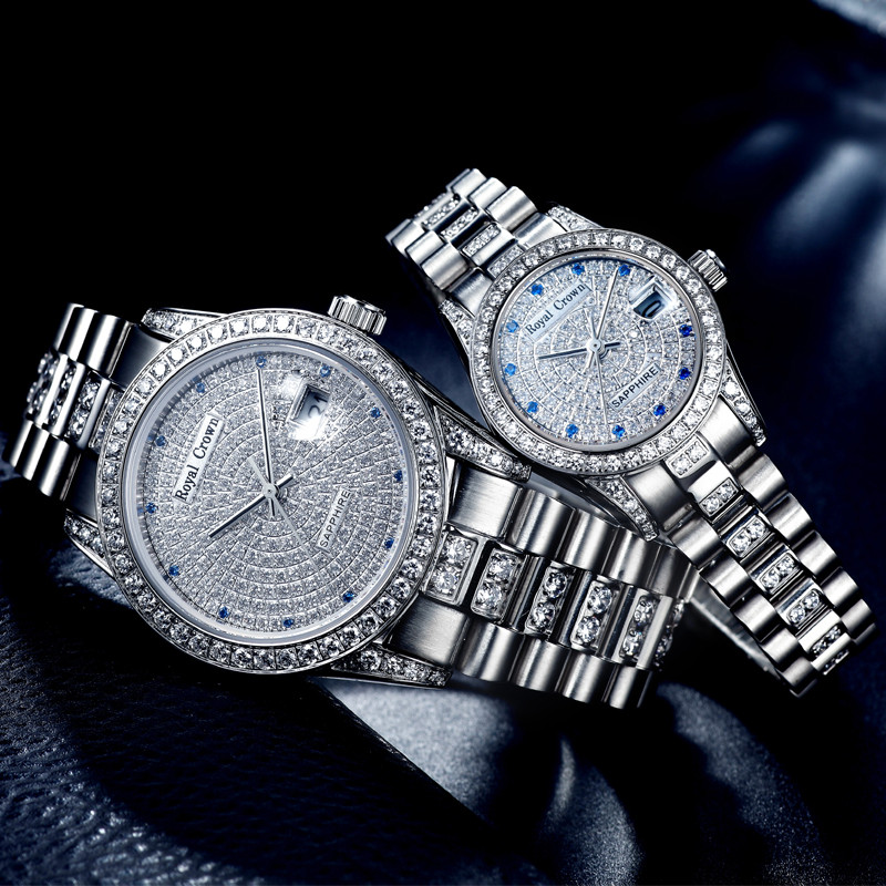 Garra-ajuste do Relógio das Mulheres dos homens Pulseira de Aço Inoxidável Relógio Relógio de Cristal De Safira Fina Presente Dos Amantes de Luxo Real coroa
