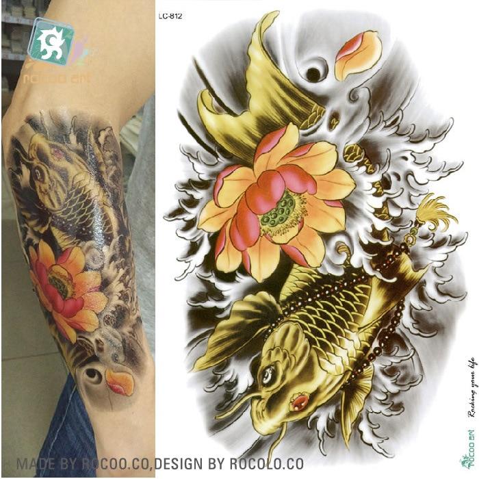 6dfdf7664 Body Art Beauty Makeup Cool Flower Japanese Carp Waterproof Temporary  Tattoo Stickers-in Temporary Tattoos from Beauty & Health on Aliexpress.com  | Alibaba ...