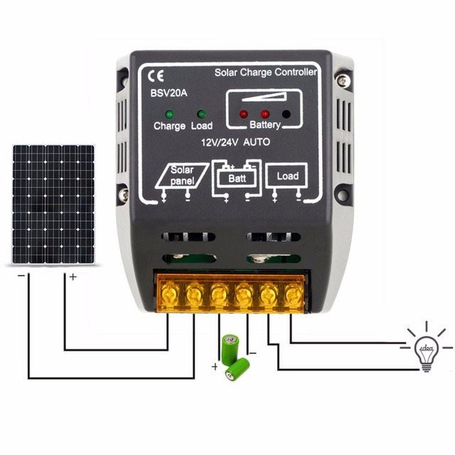 20A 12V/24V Solar Panel Charge Controller Battery Regulator Safe Protection for small solar energy system Drop Shipping