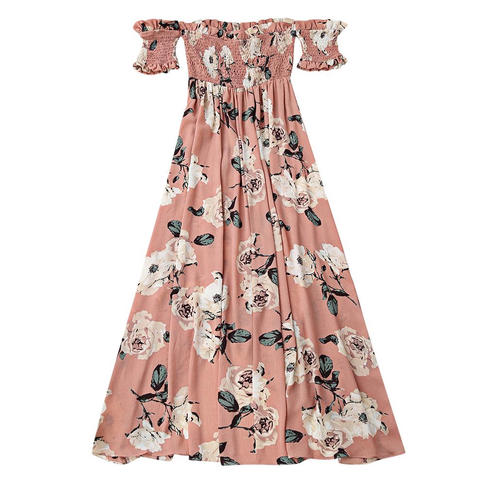 AZULINA Ruffles Off Shoulder Shirred Floral Maxi Dress Boho Tunic Women Short Sleeve Bohemian Long Dress Female 2017 Robe Femme 4