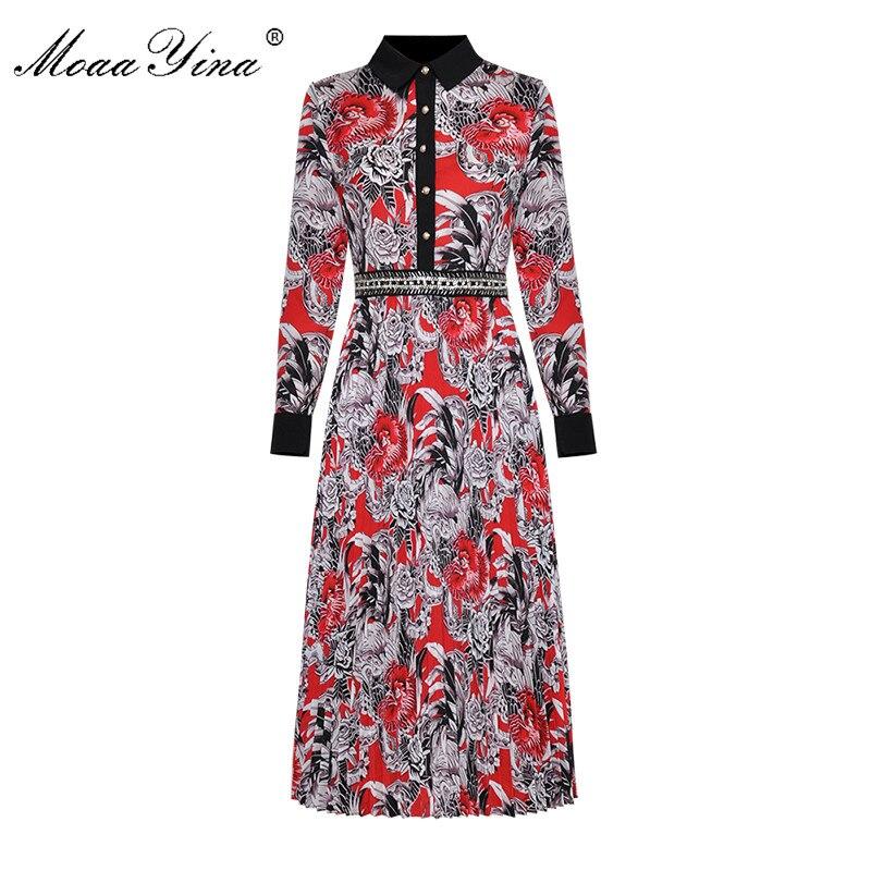 MoaaYina الأزياء مصمم المدرج اللباس الربيع الخريف المرأة كم طويل بدوره إلى أسفل طوق زر من اللؤلؤ خمر الأزهار طباعة اللباس-في فساتين من ملابس نسائية على  مجموعة 1