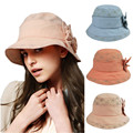 Kenmont brand Women Lady Beach Outdoor Bucket Sun Hat Panama Bowknot Cap Breathable Foldable Anti-UV UPF50+ Fishermen 0501