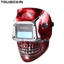 Красный череп AAA батарея+ Солнечная Сварочная маска с автоматическим/сварочный шлем/сварщик крышка/очки маска для лица для TIG MIG MMA MAG сварочное оборудование