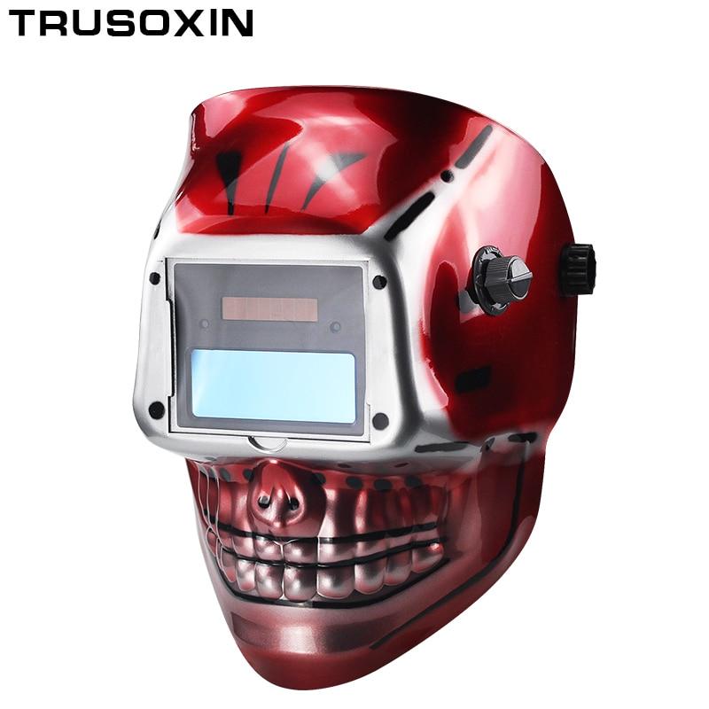 Red SKull AAA Battery+Solar Auto Welding  Mask /Welding Helmet/Welder Cap/Goggle Face Mask For TIG MIG MMA MAG WeldingEquipment