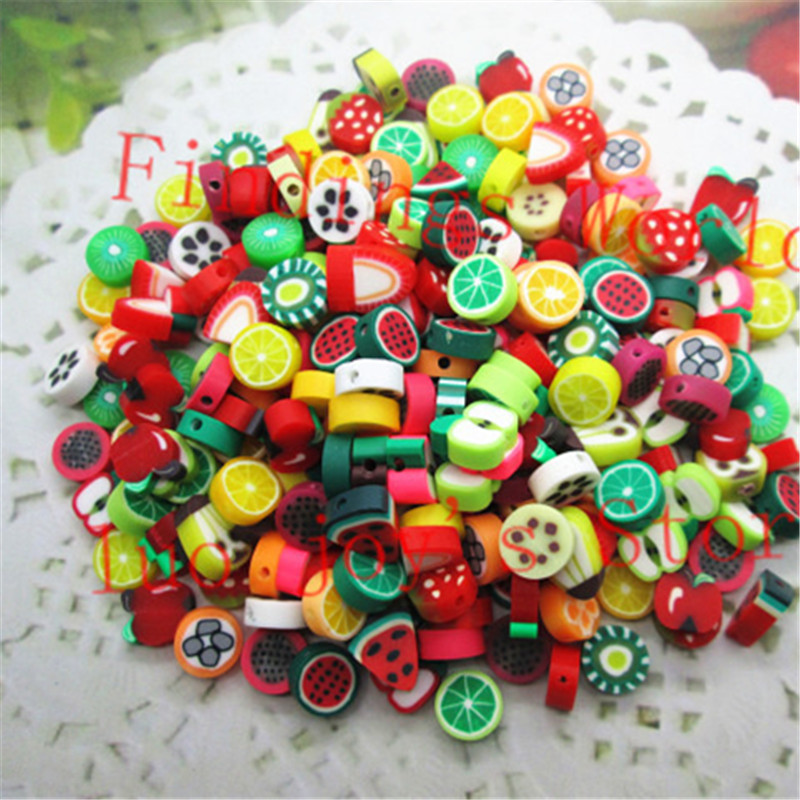 100pcs lot Mixed Color 10mm Fruit Resin Flatback Polymer Clay Beads for Jewelry Making DIY