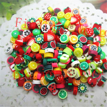 100pcs/lot Mixed Color 10mm Fruit Resin Flatback Polymer Clay Beads for Jewelry Making DIY Nail Patch Decoration Scrapbooking