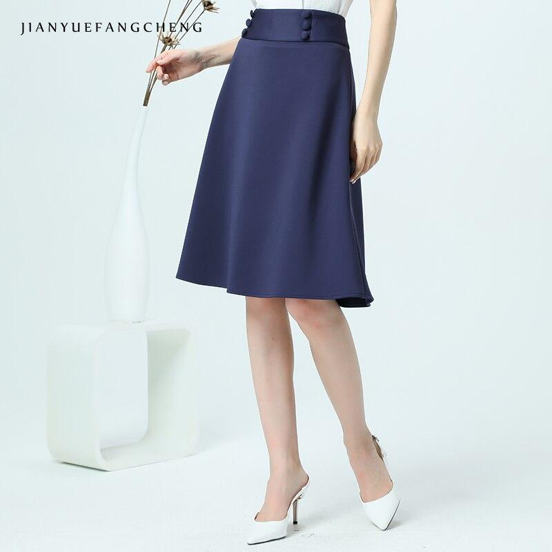 Genou Blue Bas Ligne Une Couleur Taille Femelle La 2018 D'été Solide Simple Zipper Plus Haute Bouton Jupe Femmes longueur Hq1YgwBTU