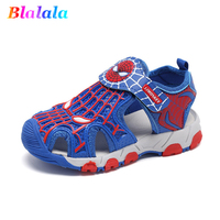 Summer boys sandals baby shoes kids beach shoes children shoes for toddler cartoon spiderman hollow out 3 to 12 yrs