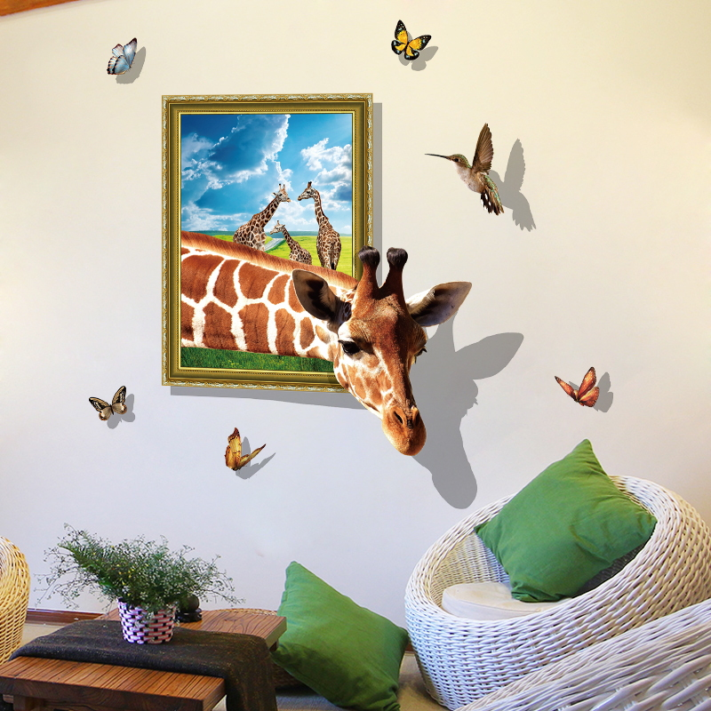 NEW Large 3d Cosmi Animal  Giraffe Wall Sticker Star Home Decoration For Kids Room Floor Living Room Wall Decals Home Decor 3