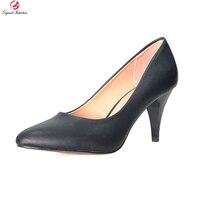 Original Intention Super Fashion Women Pumps Sexy Almond Toe Thin Heels Pumps Black Gold Silver Red Shoes Woman Plus Size 4-15