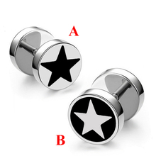 Enamel Black Star Stud Earrings for Man Trendy Party Titanium Steel Jewelry sell one piece