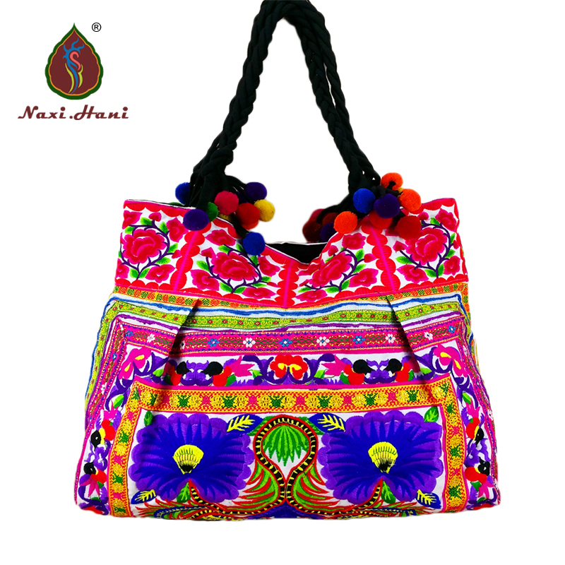 ФОТО HOT Bohemia embroidered peony pattern women Shoulder bags Vintage lace handmade pompon Cotton cloth Large size ethnic handbags