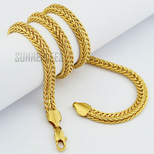 Fashion Jewelry Mens Boys 18K Yellow Gold Filled Necklace Braided