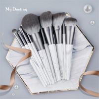 12Pcs Makeup Brushes Set Marble Grey Wood Handle Soft Powder Contour Highlighting Make up Brush Professional Eyeshadow Brush Kit
