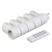 5 Wireless Remote Control Switches Socket Power Outlets Electrical Plugs Adaptors with Remote Control EU Plug White Wholesale