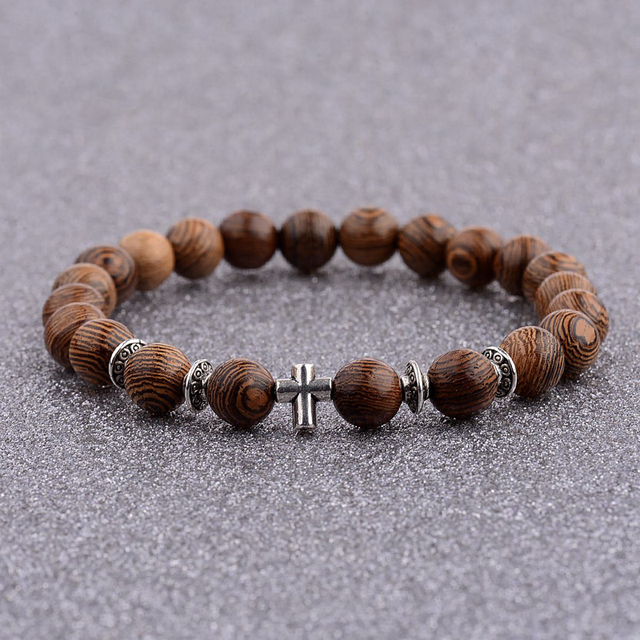 Douvei Hot Wooden Beads Bracelet For Men 8mm Natural Buddha Wood Bracelets Alloy Beaded Strand Wrist