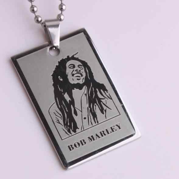 free shipping Silver Square tags BOB MARLEY 316L Stainless Steel pendant necklaces bead chain for men women wholesale