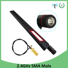 10pcs 2.4GHz WiFi Antenna 8dBi Aerial RP-SMA Male Connector 2.4 ghz antena wi-fi +21cm PCI U.FL IPX to SMA Male Pigtail Cable цена и фото