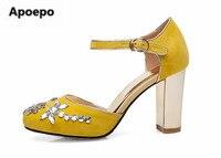 Apoepo marca de lujo zapatos de las mujeres de cristal de Flores zapatos zuecos negro amarillo bombas corte Retro zapatos de vestir zapatos de tacón alto de la boda
