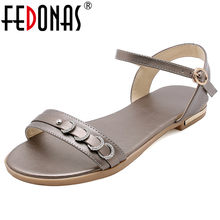 FEDONAS Classic Design Office Lady Basic Women Sandals Concise Elegant Buckle Round Toe High Heels 2019 Party Casual Shoes Woman(China)