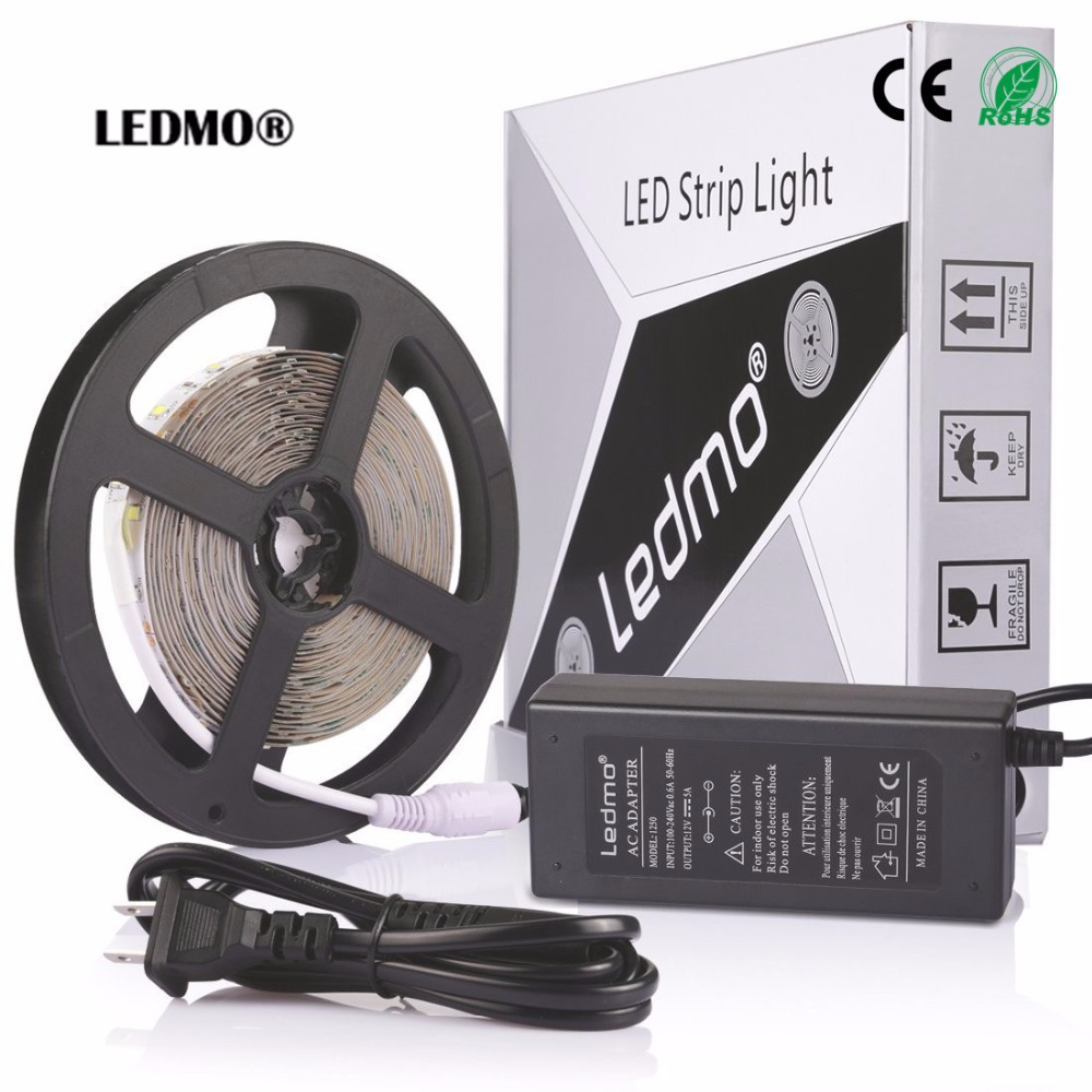 Led Strip Waterproof  Lamp Flexible 5m/Lot Light Kit White/Warm White 2835 Ribbon 300LEDs Rope With 12V 5A Power Supply