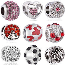 European Luxurious Starfish Cherry Bee Lips Star Wing Shoes Flower Heart Beads Fit Original Pandora Charms for Women DIY Jewelry(China)