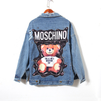 Ladies Bear Patch Denim Jacket With Sequins Pins Women Punk Beadings Long Sleeve Loose Street Wear Jeans Jackets Coat Plus Size