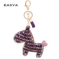 Cute Purple Horse Keychain For Keys Car Key Rings Small Gift Bag Key Holder Unisex