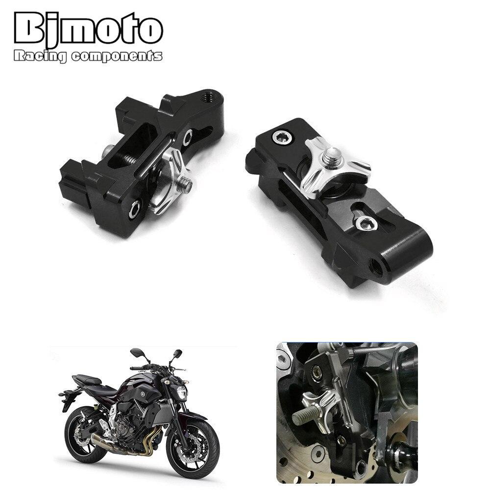 Bjmoto Motorcycle MT07 CNC Aluminum 6061 Anodized Rear Chain Adjuster Axle Blocks For Yamaha MT-07 2013-2017 FZ-07 FZ072015-2017