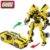 GUDI City Legoings Transform Robot 32cm Car Blocks 584pc Bricks Building Classic Educational Gift Toys For Children