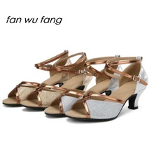 fan wu fang 2017 NEW Arrival Sequined Glitter Ballroom Dancing Latin Shoes Modern Dance Heel Tango shoes  Adult Ladies Women 518